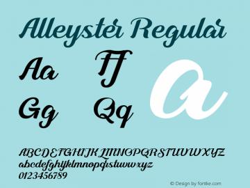 Alleyster Version 1.00;May 16, 2020;FontCreator 13.0.0.2630 64-bit图片样张