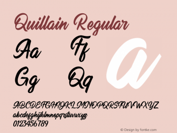 Quillain Version 1.00;May 16, 2020;FontCreator 13.0.0.2630 64-bit图片样张