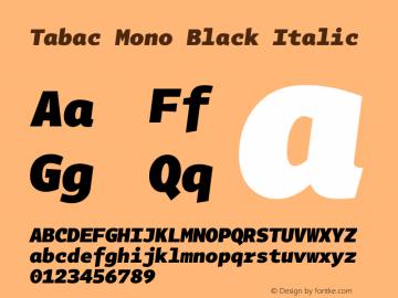 Tabac Mono Black Italic Version 2.000图片样张