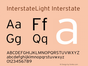 InterstateLight Interstate 001.004 Font Sample