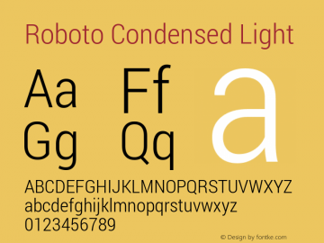 Roboto Condensed Light Version 1.100140; 2013图片样张