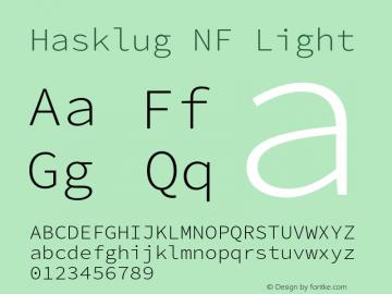 Hasklug Light Nerd Font Complete Windows Compatible Version 2.030;PS 1.0;hotconv 16.6.51;makeotf.lib2.5.65220 Font Sample