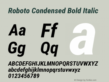 Roboto Condensed Bold Italic Version 2.001047; 2015 Font Sample