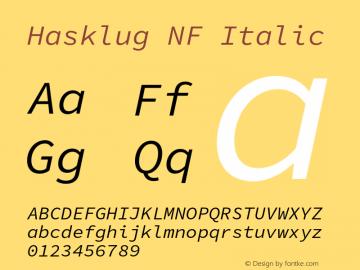 Hasklug Italic Nerd Font Complete Mono Windows Compatible Version 1.030;PS 1.0;hotconv 16.6.51;makeotf.lib2.5.65220 Font Sample