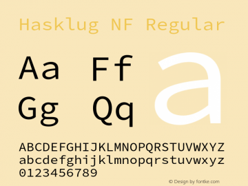 Hasklug Nerd Font Complete Windows Compatible Version 2.030;PS 1.0;hotconv 16.6.51;makeotf.lib2.5.65220 Font Sample