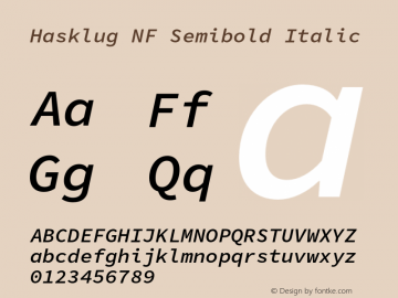 Hasklug Semibold Italic Nerd Font Complete Mono Windows Compatible Version 1.050;PS 1.0;hotconv 16.6.51;makeotf.lib2.5.65220 Font Sample