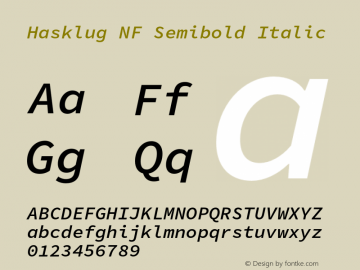 Hasklug Semibold Italic Nerd Font Complete Windows Compatible Version 1.050;PS 1.0;hotconv 16.6.51;makeotf.lib2.5.65220 Font Sample