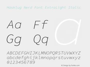 Hasklug ExtraLight Italic Nerd Font Complete Version 1.050;PS 1.0;hotconv 16.6.51;makeotf.lib2.5.65220 Font Sample