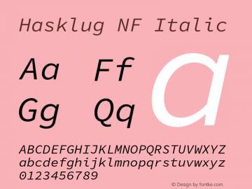 Hasklug Italic Nerd Font Complete Windows Compatible Version 1.030;PS 1.0;hotconv 16.6.51;makeotf.lib2.5.65220 Font Sample