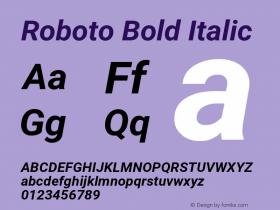 Roboto Bold Italic Version 2.137; 2017图片样张