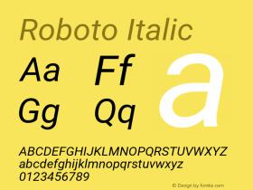 Roboto Italic Version 2.137; 2017图片样张
