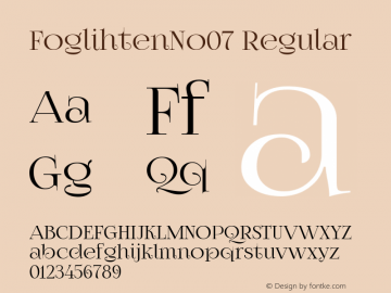 FoglihtenNo07 Regular Version 0.845 Font Sample