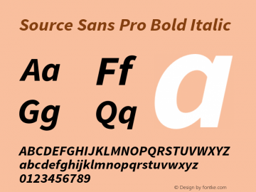 Source Sans Pro Bold Italic Version 1.065;PS 2.0;hotconv 1.0.79;makeotf.lib2.5.61930图片样张