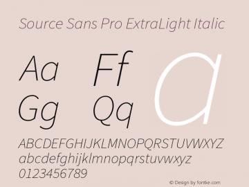 Source Sans Pro ExtraLight Italic Version 1.065;PS 2.0;hotconv 1.0.79;makeotf.lib2.5.61930图片样张