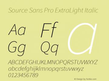 Source Sans Pro ExtraLight Italic Version 1.065;PS Version 2.0;hotconv 1.0.79;makeotf.lib2.5.61930图片样张