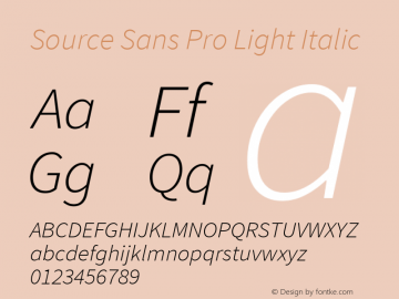 Source Sans Pro Light Italic Version 1.065;PS Version 2.0;hotconv 1.0.79;makeotf.lib2.5.61930图片样张