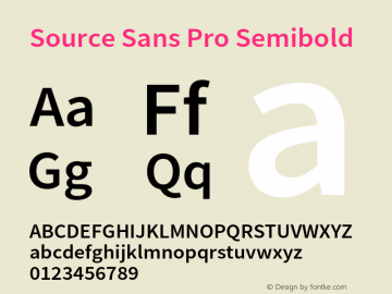 Source Sans Pro Semibold Version 2.010;PS 2.0;hotconv 1.0.79;makeotf.lib2.5.61930图片样张
