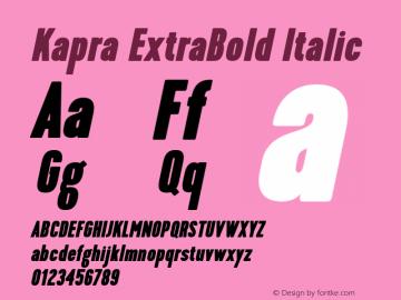 Kapra-ExtraBoldItalic Version 1.000;PS 001.001;hotconv 1.0.56图片样张
