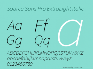 Source Sans Pro ExtraLight Italic Version 1.050;PS Version 1.000;hotconv 1.0.70;makeotf.lib2.5.5900图片样张