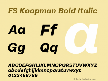 FSKoopman-BoldItalic Version 1.001; ttfautohint (v1.8)图片样张