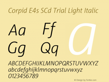 Corpid SemiCondensed Light Italic Version 2.001图片样张