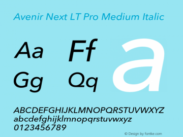AvenirNextLTPro-MediumIt Version 3.000图片样张