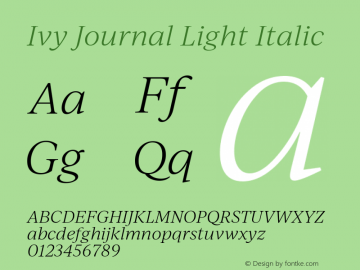 IvyJournal-LightItalic Version 1.001图片样张