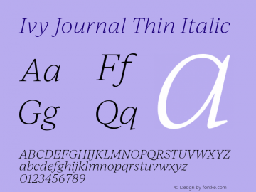 IvyJournal-ThinItalic Version 1.001图片样张