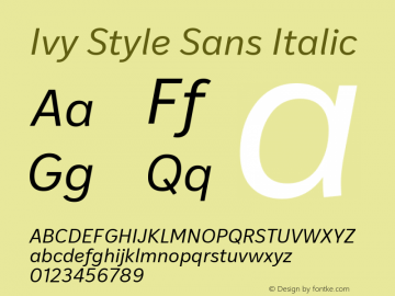 IvyStyleSans-Italic Version 1.002; build 0017图片样张