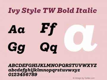 IvyStyleTW-BoldItalic Version 1.001图片样张