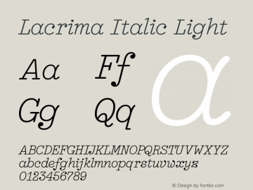 Lacrima Italic Light Version 3.001 | wf-rip DC20190405图片样张