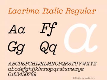 Lacrima Italic Regular Version 3.001   wf-rip DC20190405图片样张