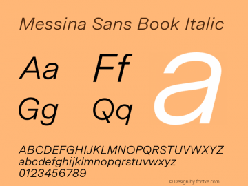 MessinaSans-BookItalic Version 23.000图片样张