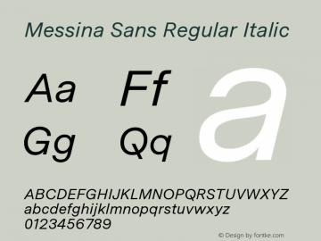 MessinaSans-RegularItalic Version 23.000图片样张