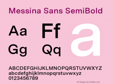 MessinaSans-SemiBold Version 23.000图片样张