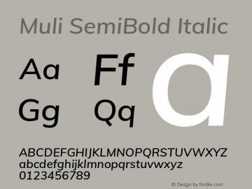 Muli SemiBold Italic Version 2.100; ttfautohint (v1.8.1.43-b0c9) Font Sample