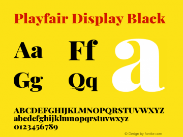 Playfair Display Black Version 1.200; ttfautohint (v1.8.2)图片样张