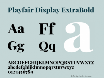 Playfair Display ExtraBold Version 1.200; ttfautohint (v1.8.2)图片样张