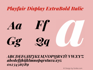 Playfair Display ExtraBold Italic Version 1.200; ttfautohint (v1.8.2)图片样张