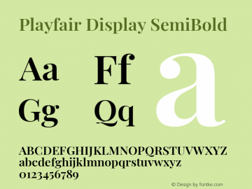 Playfair Display SemiBold Version 1.200; ttfautohint (v1.8.2)图片样张