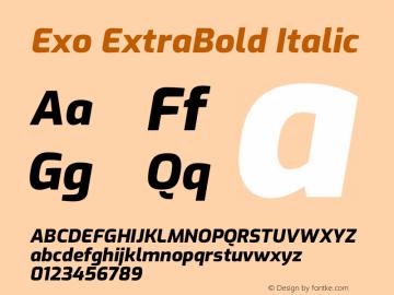 Exo ExtraBold Italic Version 2.000图片样张