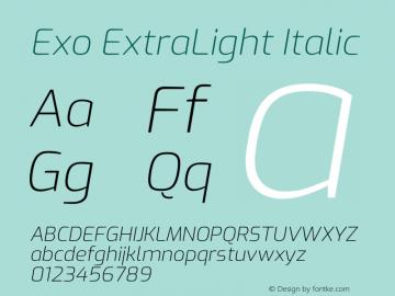 Exo ExtraLight Italic Version 2.000图片样张