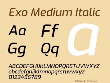 Exo Medium Italic Version 2.000图片样张