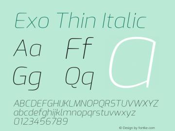 Exo Thin Italic Version 2.000图片样张