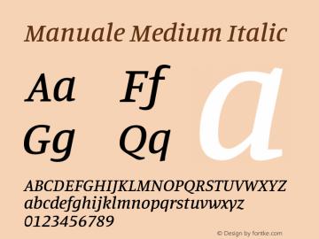 Manuale Medium Italic Version 1.000; ttfautohint (v1.8.1.43-b0c9)图片样张