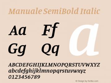 Manuale SemiBold Italic Version 1.000; ttfautohint (v1.8.1.43-b0c9)图片样张