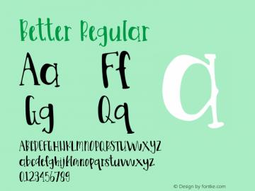 Better Version 1.00;May 29, 2020;FontCreator 11.5.0.2430 64-bit图片样张