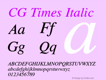 CG Times Italic Version 2.02图片样张
