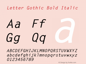 Letter Gothic Bold Italic 19: 13780: 1998图片样张