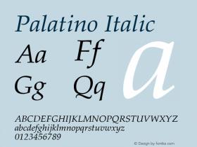 Palatino Italic Version 2.02图片样张